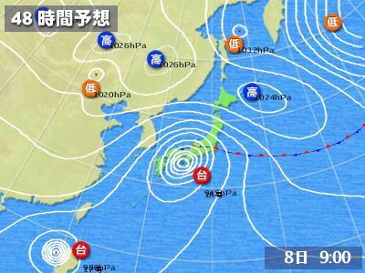 10月8日の9:00予報(10月6日17時発表)