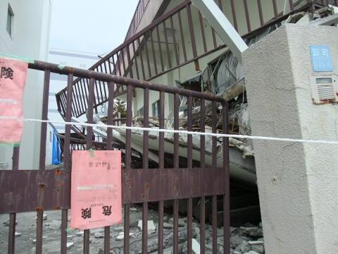 倒壊した建物(RC造)